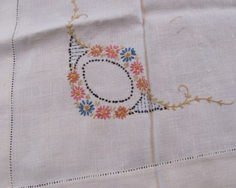 Card Table Tablecloth Embroidered and Crochet Trim