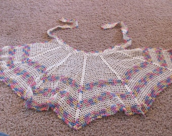 Apron Lovely Vintage Handmade Crocheted Half Apron