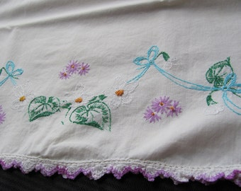 Vintage Embroidered Pillow Case - Floral Design