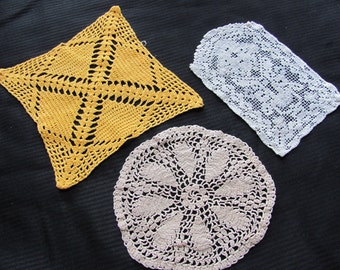 Doily Lot of 3 Antique Handmade Doilies