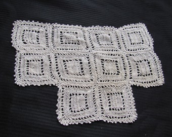 Antique Ivory Crocheted Doily 13 x 9