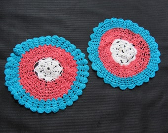 """Lot of 2 Vintage Colorful Round Handmade Doilies 8"""""""