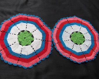 Pair of  Vintage Handmade Colorful Round Doilies 10""