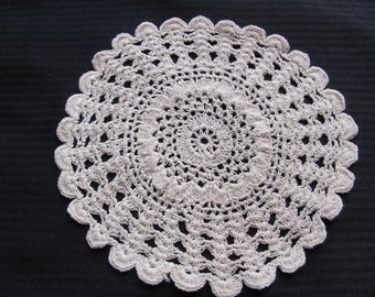 """Lovely Small Beige Crocheted Round Doily 8"""""""