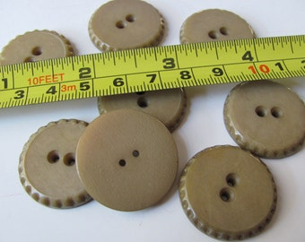 Lot of 8 Large Vintage Tan Plastic Coat Jacket Buttons Matching