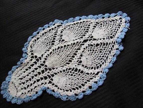 "Vintage or Antique Ivory Blue Edge Handmade Doily 12"" x 7"""
