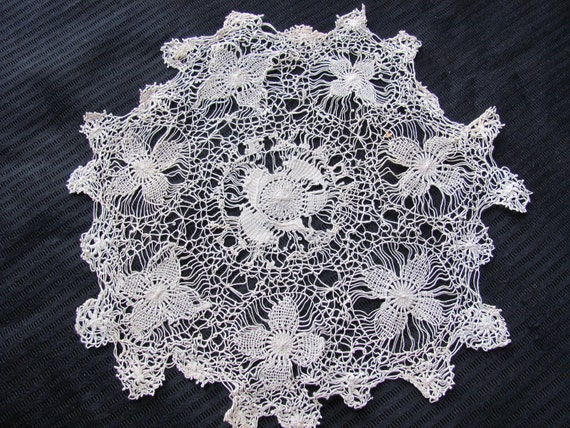 Antique Ivory Crocheted Doily 11 Inches