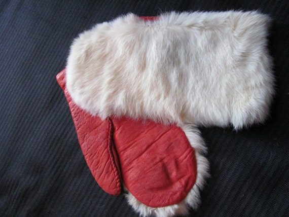 Beautiful Vintage Red Leather and Real Fur Mittens Gloves