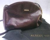 Vintage Maroon Burgundy Crossbody Bag Wine Cognac Purse Leather Shoulder Pouchouette Oxblood Lizard Albert Nipon Textured Designer Purse
