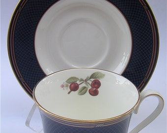 Vintage Mikasa Red Cherries Teacup Set Vintage Ebony Garden Series Tea Cup Saucer Fine Bone China Porcelain Plate Charger Rare Collectible