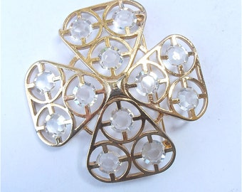 Vintage Cross Brooch Vintage Clear Lucite Brooch Gold Criss Cross Brooch Four Leaf Brooch Vintage Acrylic Brooch Vintage Shamrock Brooch