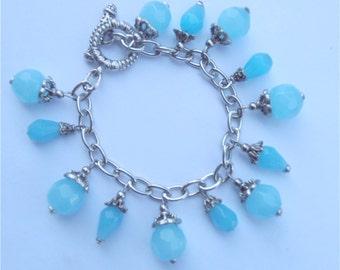 Handmade Blue Turquoise Bracelet Turquoise Crystal Bead Bracelet Swarovski Elements Dangle Bracelet Persian Blue Silver Plated Bracelet