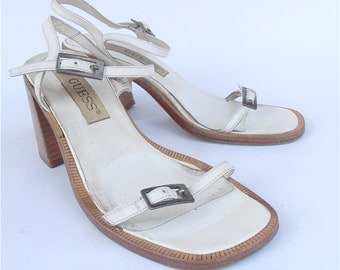 Vintage White Strap Leather Sandals Chunky High Heel Shoes Guess Designer Thin Strappy Retro Ladies Shoe Size US 7 Summer Villacollezione