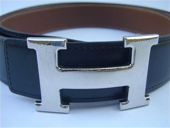 hermes h belt buckle silver