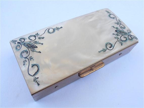 Vintage Art Deco Box Vintage Pearl Box Vintage MOP Box Vintage Jewelry Box Mother of Pearl Box Handpainted Box Pearl Trinket Box Vintage 70s