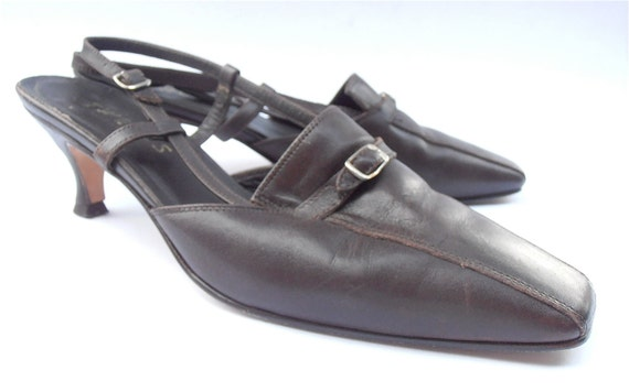 Vintage Brown Shoes Italian Leather Shoes Brown Ladies Shoes Kitten Heels Womens Shoe Size 7.5 Brown Sling Back Shoes Silver Buckle Design