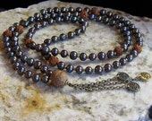 RESERVED FOR TRACY. Dark Pearls Rudraksha and Bodhi Seed Mala with a Trinity of Aums