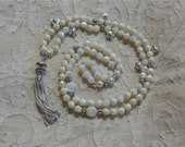 Reserved for Sparkle Plente. Meadow Flower Mala with Faceted Mother of Pearl