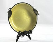 1930s Evans Hand Enameled Desk Tray - Butter Yellow and Brass
