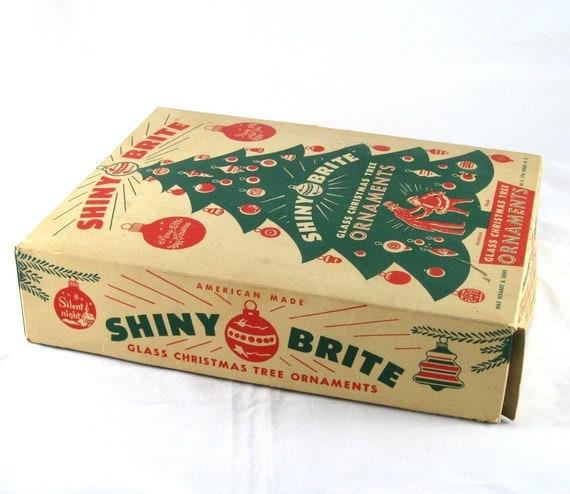 1950s Shiny Brite Glass Ornaments in Rare Box - Vintage Red - Christmas Tree Box - 12