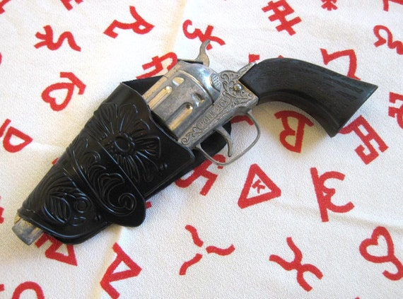 Vintage Cap Gun Pistol - Pony Boy Pistol with Plastic 'tooled' Holster - You'll shoot your eye out