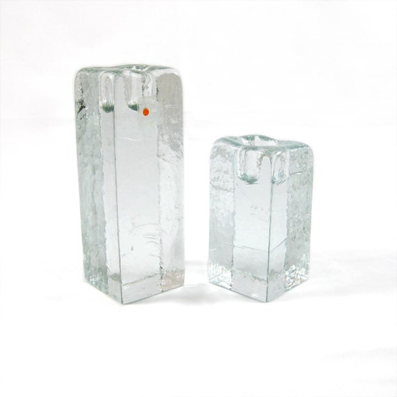 Pair Blenko Candleholders - Modern Ice Cube Design - with label