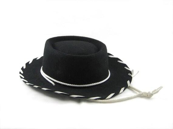Vintage Kids COWBOY Hat - Country Western - Black Wool Felt - Authentic