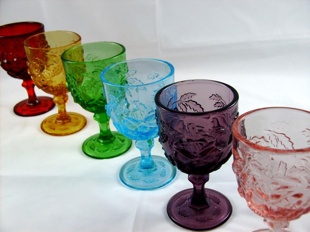 6 Vintage Indiana Glass Water Goblets Rose And Leaf