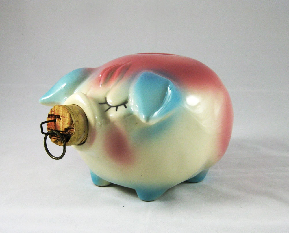 Corky Pig Piggy Bank Ceramic Made In Usa By Hull Pottery