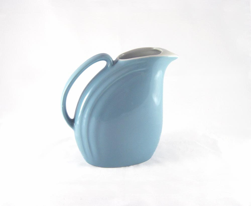 Hall Pottery Water Pitcher Periwinkle Blue On Cream Mid