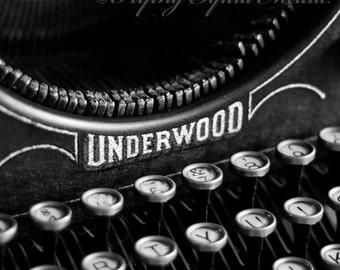 Fine Art B&W Photo Print - Your choice of size - Antique Underwood Typewriter, Office Decor, Home Decor - Wall Art