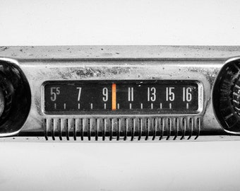 AM Radio Fine art Black and White 13x6 Print- Selective Color - Classic Car Art - Art for Bedroom - Art for Living Room - Art for Office