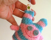 Sock Monster Key Chain Key Ring Blue and Pink Stripes