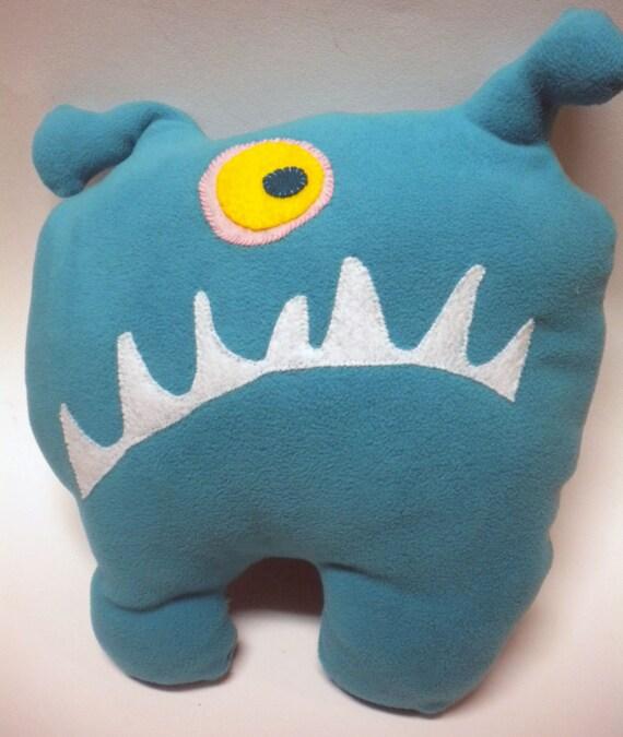 Teal Blue Fleece Monster Plush