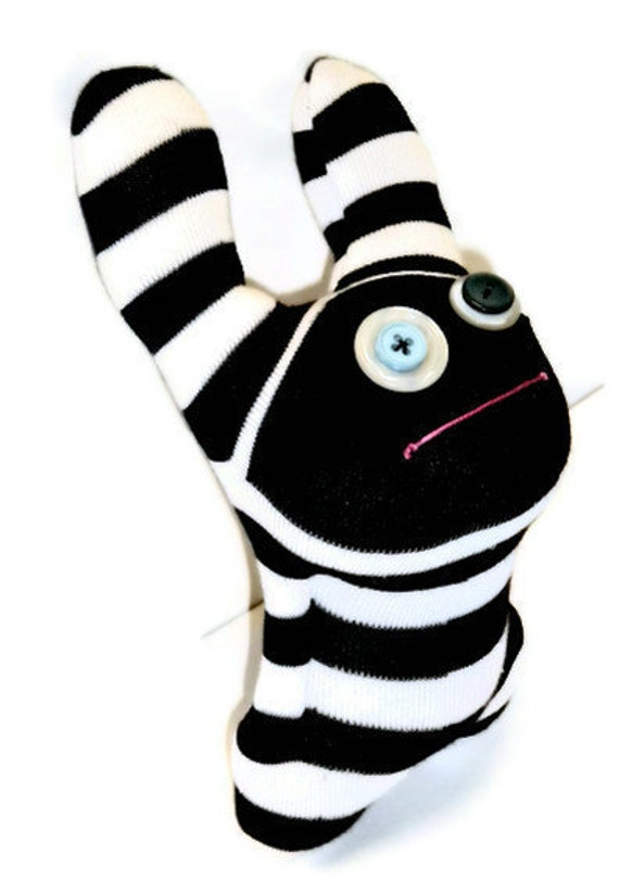 Sock Monster Black and white striped named Thingamajig