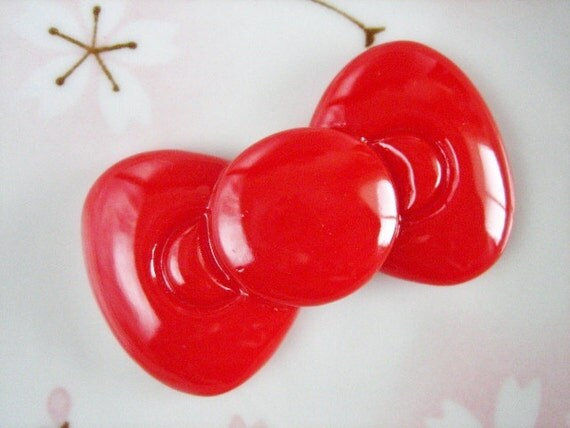 SALE - 1 pc - BIG Red Kitty Bow Decoden Cabochon (59x34mm) BL10001