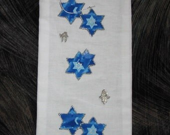 Wine or Liquor Gift Bag with Blue & Silver Stars  #166
