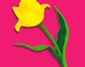 PRINT of digital flower design - already matted in 8 x 10 mat board - Spring Tulip