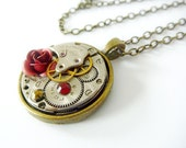 Steampunk Pendant Vintage jewelled watch movement with Rose and swarovski - Funky Steampunk inspired Pendant - Timeless Relic