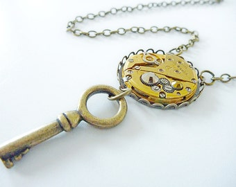 Steampunk necklace, Vintage watch pendant with swarovski crystals and key , funky Timeless Relic