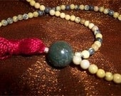 Yellow Turquoise Mala with Red Tassle
