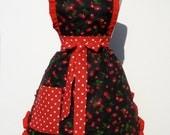 Retro Apron Vintage Inspired  Cherry Apron Free Shipping