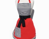 Stripes and Red Chic  Apron