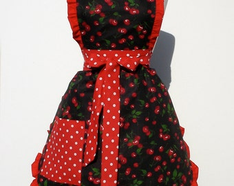 Free Shipping Retro Apron Vintage Inspired  Cherry Apron FREE SHIPPING