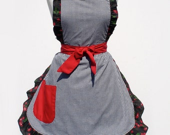 Gingham and Cherries Full  Apron FREE SHIPPING