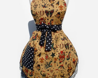 Retro Apron 1950s Vintage Inspired Tattoo Art Apron FREE SHIPPING