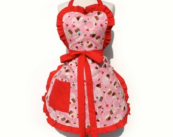 Retro Apron Cupcakes and Cherries  50s Inspired Apron FREE SHIPPING