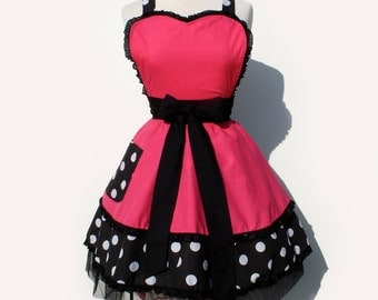 Retro Apron Vintage Inspired Pink and Polka Dots Apron