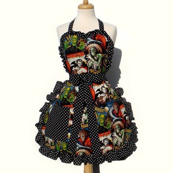 Retro Apron Vintage Inspired 1950s Horror Movie Hollywood Monsters Apron FREE SHIPPING