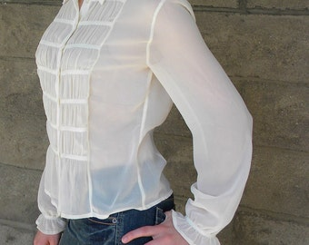 sheer ivory blouse with runching